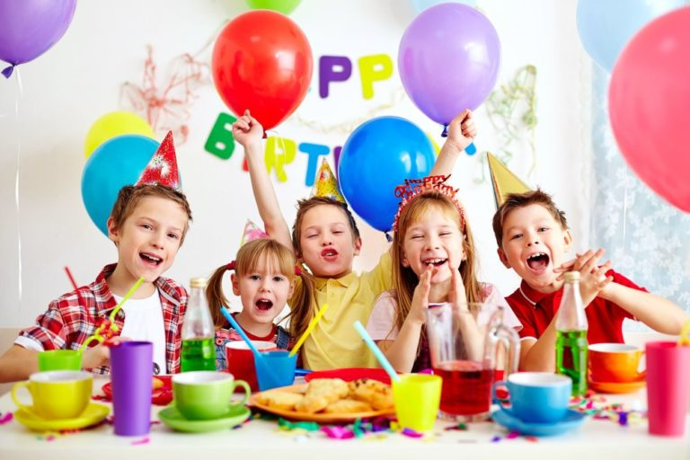 16333917 - group of adorable kids having fun at birthday party